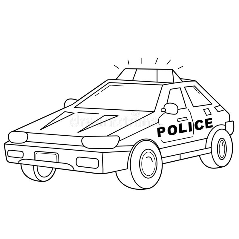 coloring page outline cartoon police car images transport vehicle children vector book kids