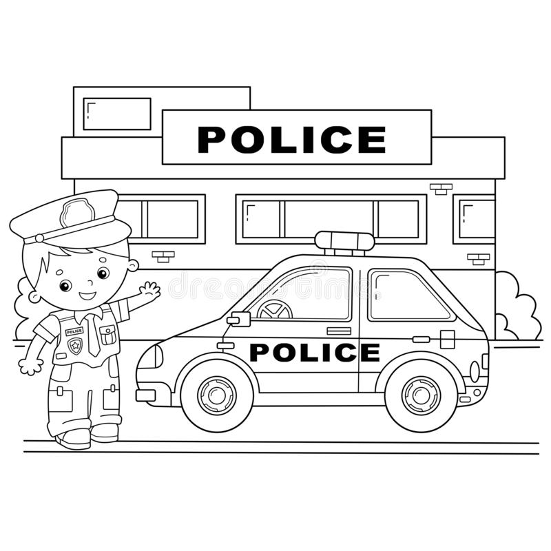 Coloring Page Outline Of Cartoon Policeman With Car. Profession - Police.  Image Transport Or Vehicle For Children. Coloring Book Stock Vector -  Illustration Of Line, Black: 163505010