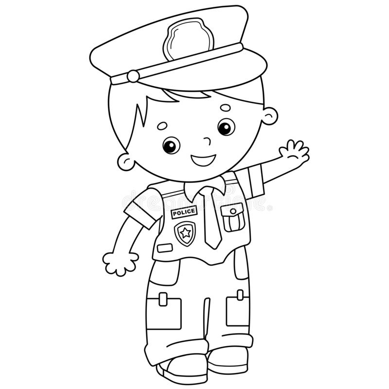 coloring page outline cartoon policeman profession police book kids