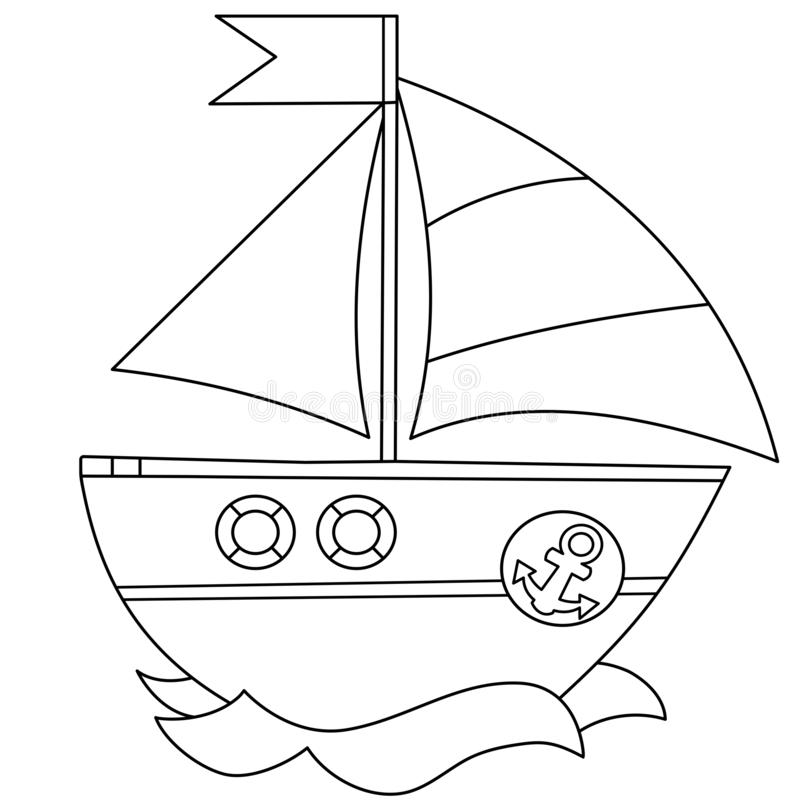 Coloring Page Outline Of cartoon sail ship. Images of transport for children. Vector. Coloring book for kids.  stock illustration