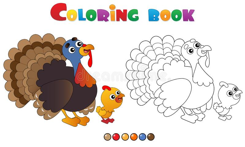 Coloring Page Outline of cartoon turkey with nestling. Farm animals. Coloring book for kids.  royalty free illustration