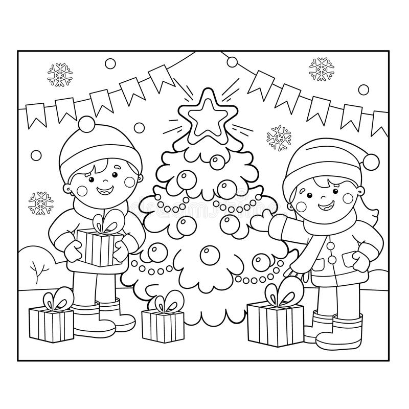 Coloring Page Outline Of children with gifts at Christmas tree. Christmas. New year. Coloring book for kids royalty free illustration
