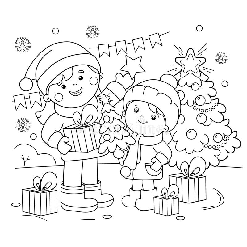 Coloring Page Outline Of children with gifts at Christmas tree. Christmas. New year. Coloring book for kids.  royalty free illustration