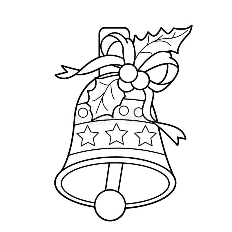 Coloring Page Outline Of Christmas bell. Christmas. New year. Coloring book for kids. royalty free illustration