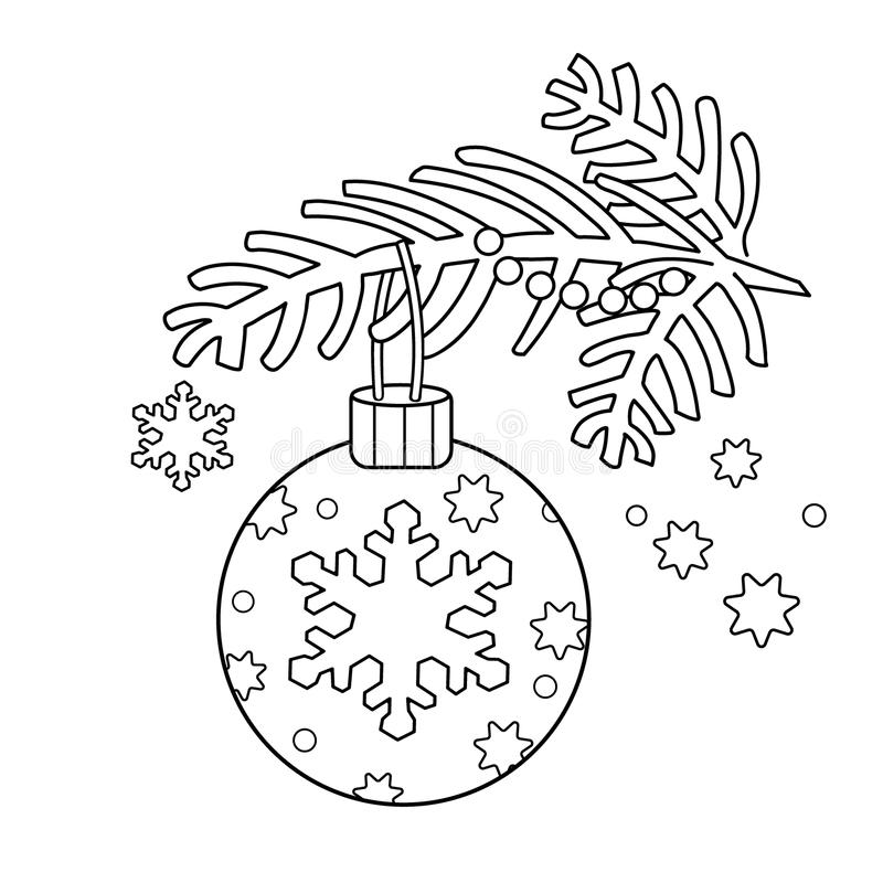 Coloring Page Outline Of Christmas Decoration. Christmas Tree Branch ...