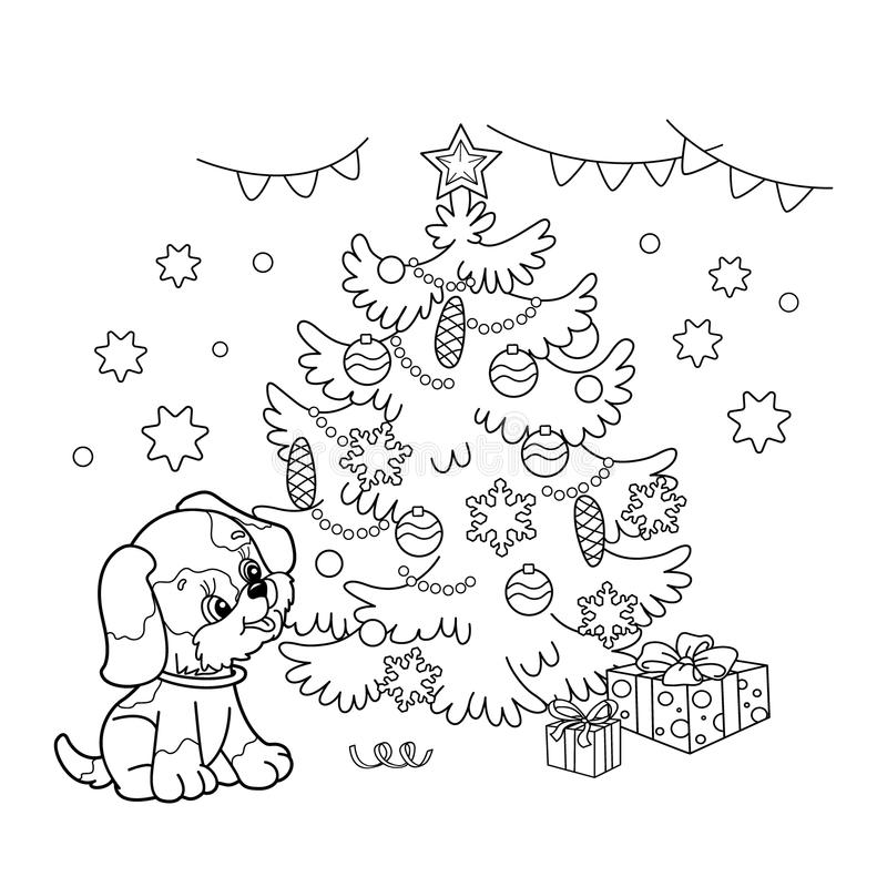 Coloring Page Outline Of Christmas Tree With Ornaments And Gifts Puppy The Year Dog New Book For Kids