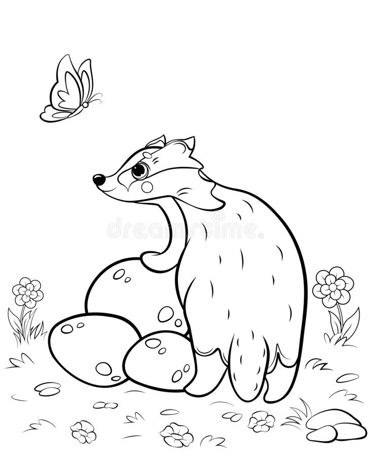 Coloring Page Outline Of Cute Cartoon Badger. Vector Image With Nature  Background. Coloring Book Of Forest Wild Animals For Kids Stock Vector -  Illustration Of Colouring, Cartoon: 182430511