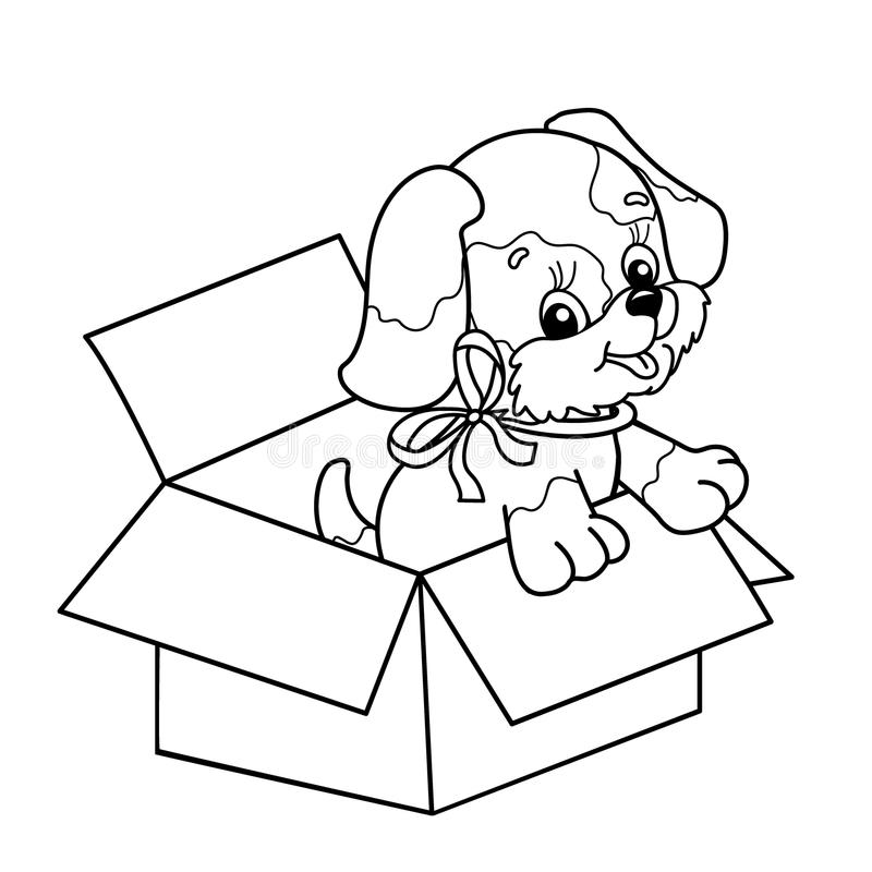 Coloring Page Outline Of cute puppy in box. Cartoon dog with bow royalty free illustration