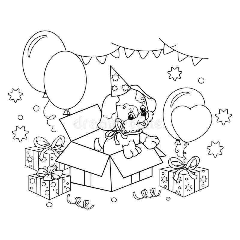 Download Coloring Page Outline Of Cute Puppy Cartoon Dog With Bow Gift For The