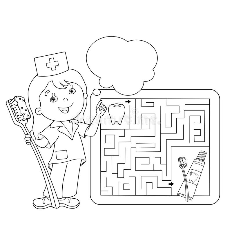Coloring Page Outline Of Doctor With Toothbrush And Toothpaste ...