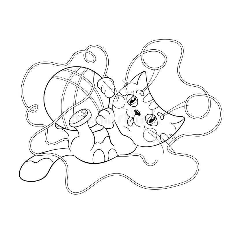Coloring Page Outline Of A Fluffy Kitten Playing With Ball ...