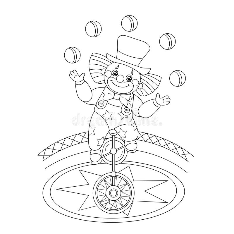 Coloring Page Outline Of A Funny Clown Juggling Balls Stock Vector ...