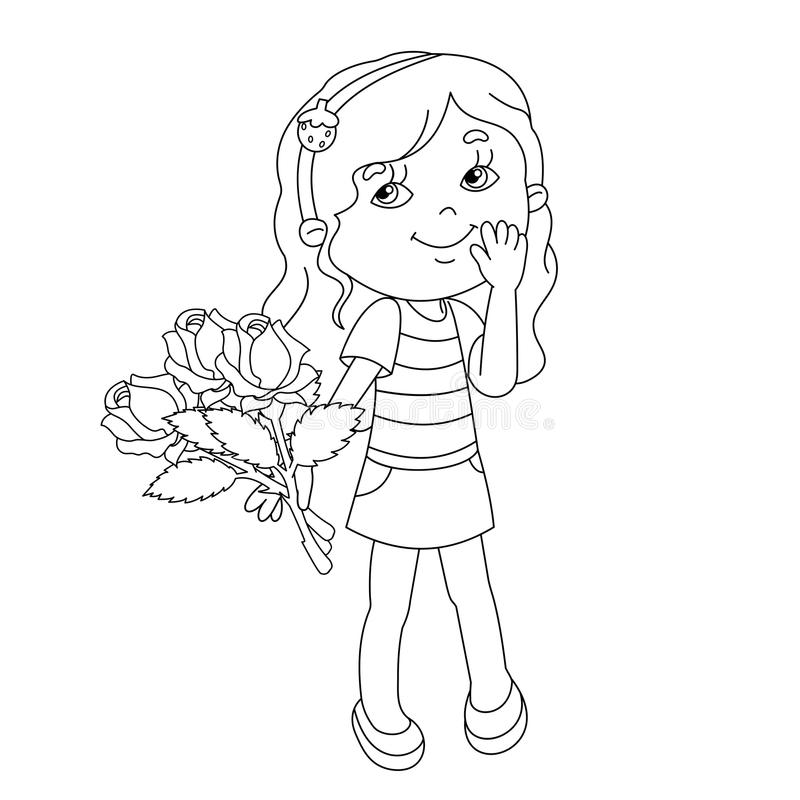 Coloring page outline of girl with bouquet of roses in hand. Coloring page outline of Beautiful girl with a bouquet of roses in hand royalty free illustration