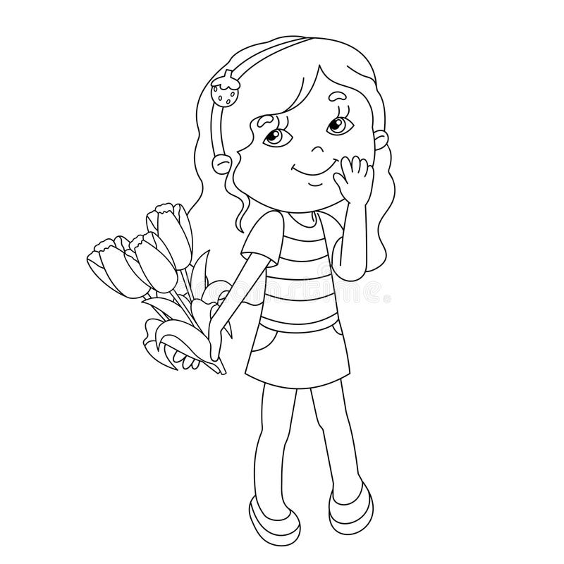 Coloring page outline of girl with bouquet of tulips. Coloring page outline of Beautiful girl with bouquet of tulips in his hand stock illustration