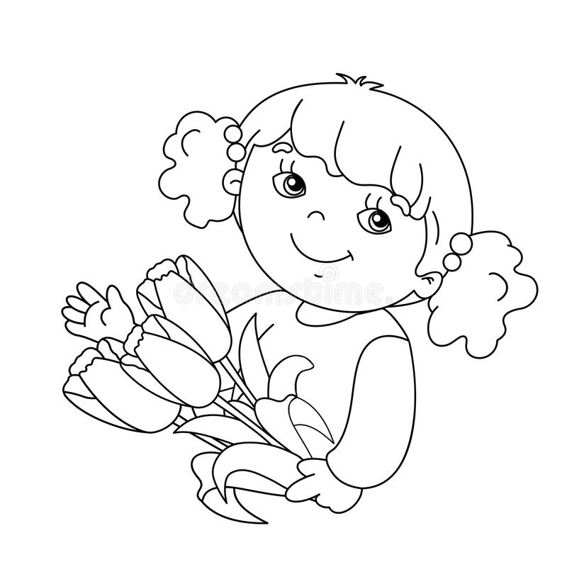 Coloring page outline of girl with bouquet of tulips. Coloring page outline of Beautiful girl with bouquet of tulips in his hand royalty free illustration