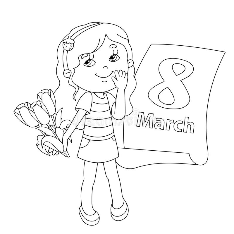 Download Coloring Page Outline Of Girl With Flowers March 8 Stock Vector