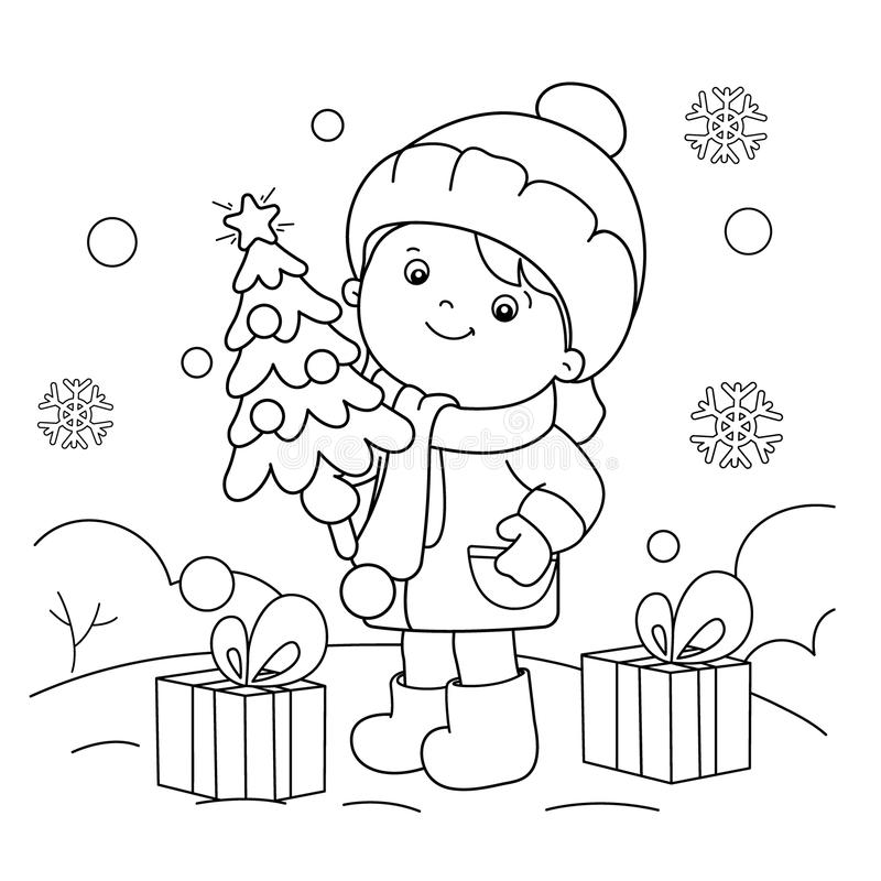 Coloring Page Outline Of Girl With Gifts At Christmas Tree ...