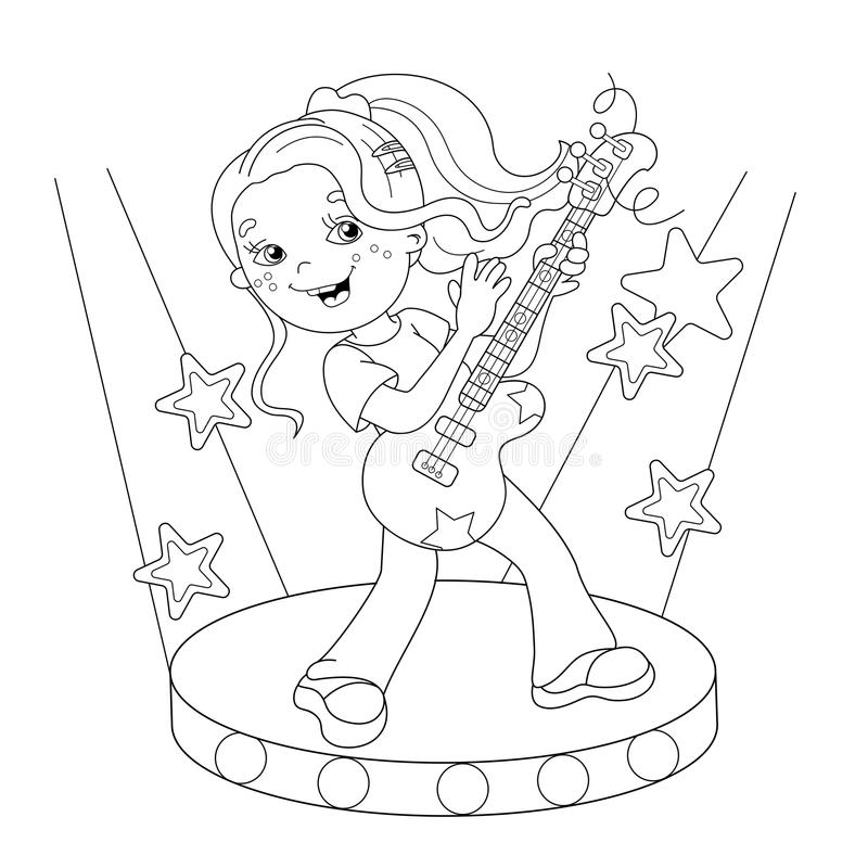 Coloring Page Outline Of Girl Playing The Guitar On Stage