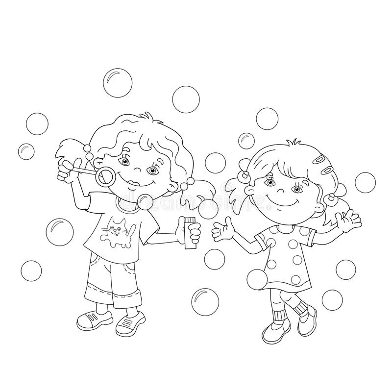 Coloring Page Outline Of girls blowing soap bubbles together royalty free illustration
