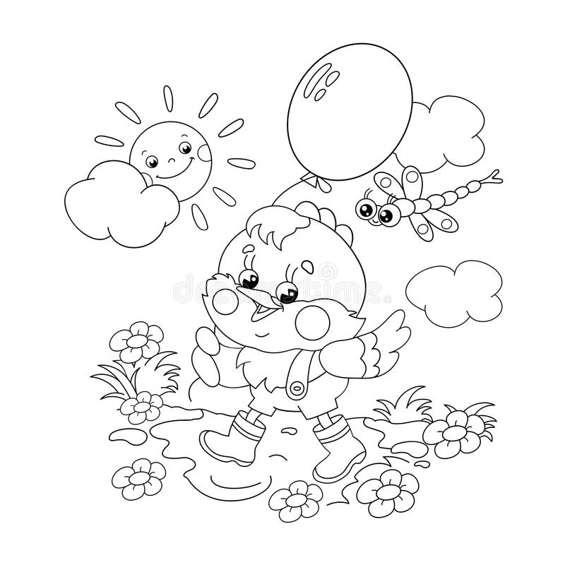 Download Coloring Page Outline Of A Happy Chicken Walking With Balloon Stock Vector