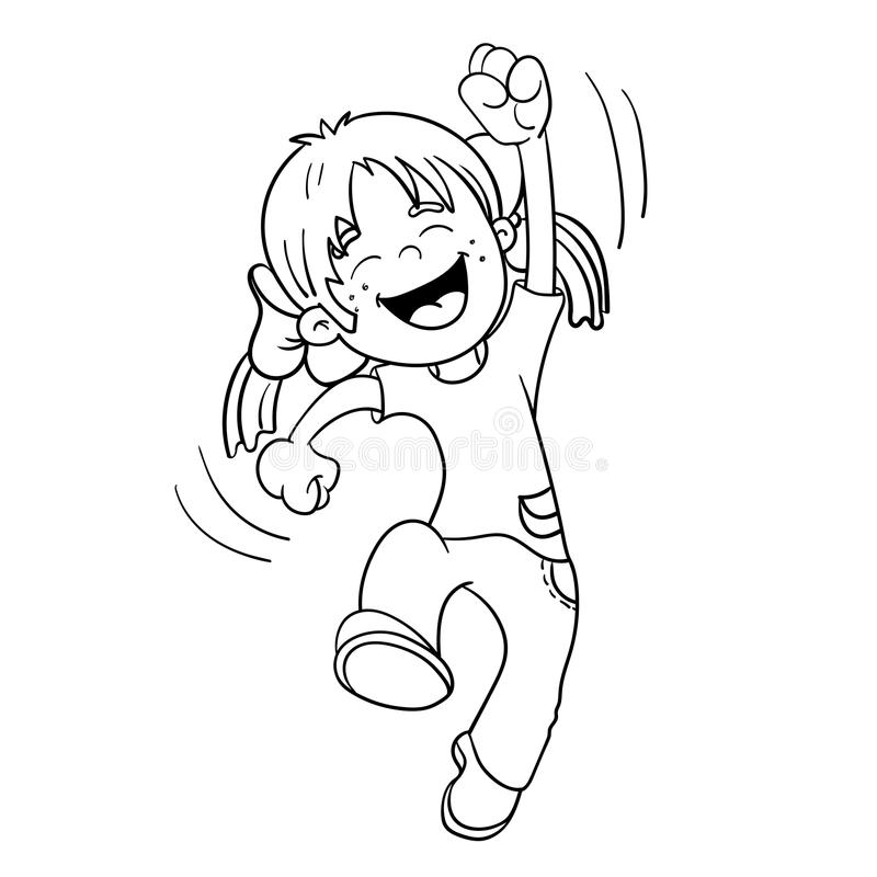 girl outline coloring page - coloring page outline of a jumping girl stock vector