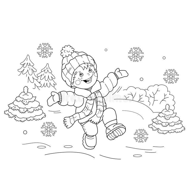 Free Coloring Page Outline Of Cartoon Boy Jumping For Joy. First Snow Stock Photography - 82931752