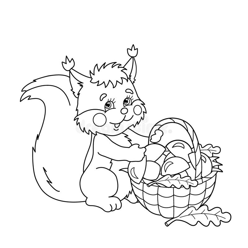 Coloring Page Outline Of Squirrel With Basket Of Mushrooms Stock
