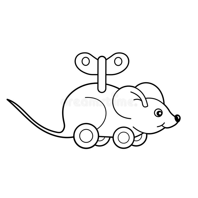 Coloring Page Outline Of toy clockwork mouse. Coloring book for kids royalty free illustration