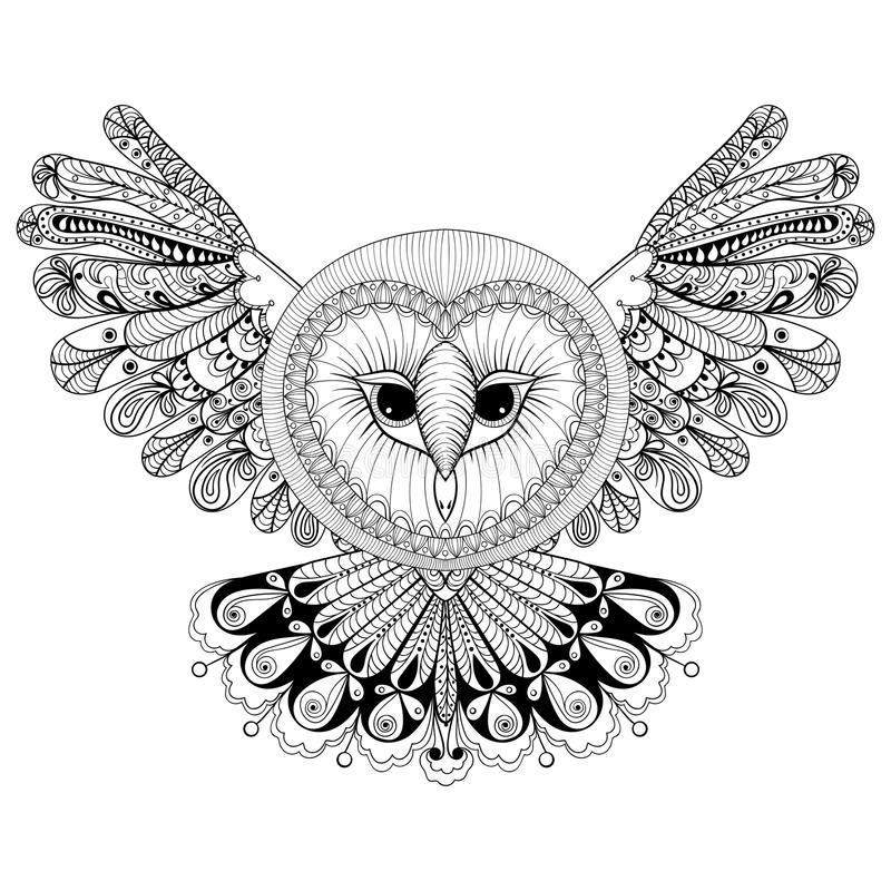 coloring page with owl zentangle hand drawing. Black Bedroom Furniture Sets. Home Design Ideas