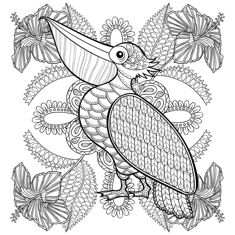 Nice Download Coloring Page With Pelican In Hibiskus Flowers, Stock Vector    Illustration Of Background,