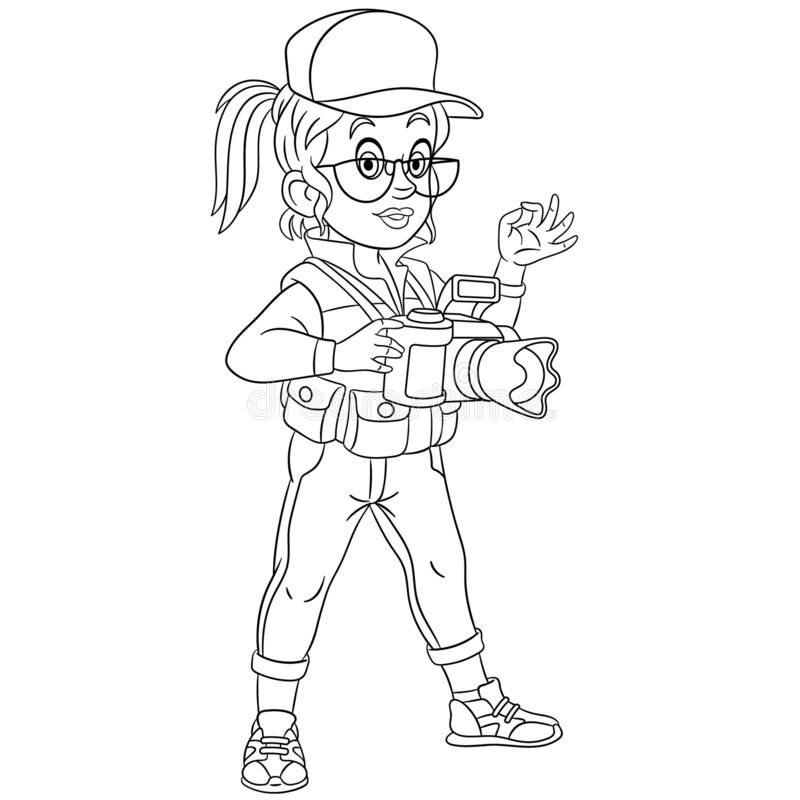 Coloring page with photographer woman royalty free illustration