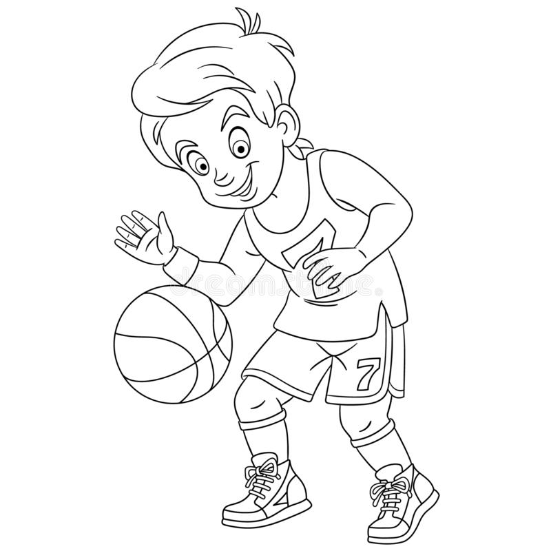 coloring page picture cartoon boy playing basketball childish design kids activity colouring book people professions