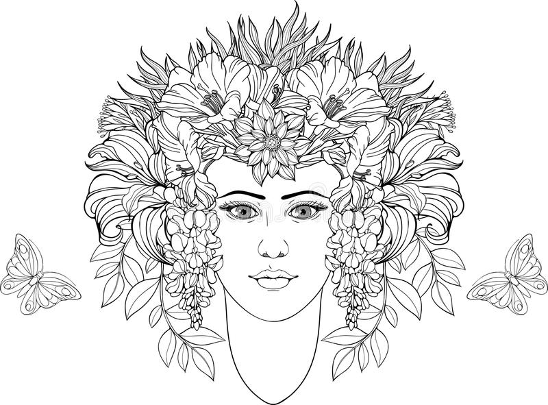 Coloring Page Portrait Of Girl With Flowers In Hair Stock Vector ...