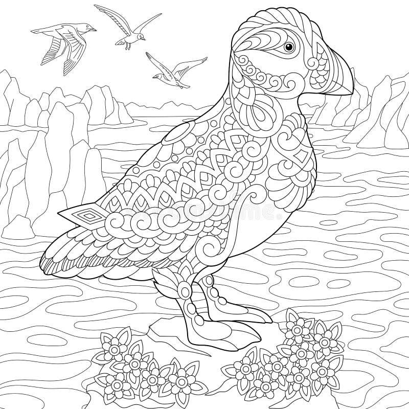 Zentangle stylized puffin bird royalty free illustration