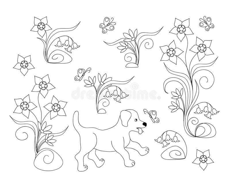Coloring page with puppy among flowers royalty free illustration