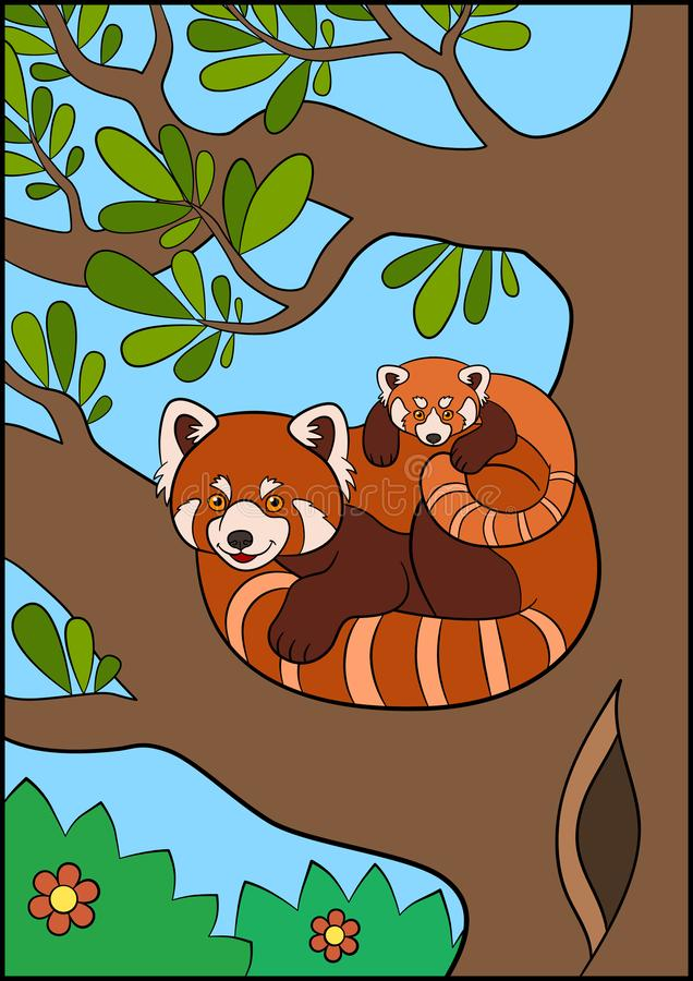 Cartoon wild animals. Mother red panda with her little cute baby on the tree branch. In the forest royalty free illustration