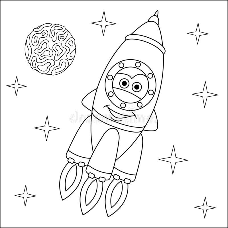 coloring page rocket ship picture cartoon childish design kids activity colouring book transport