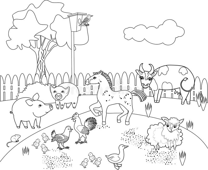 Coloring page. Rural landscape with different farm animals stock illustration