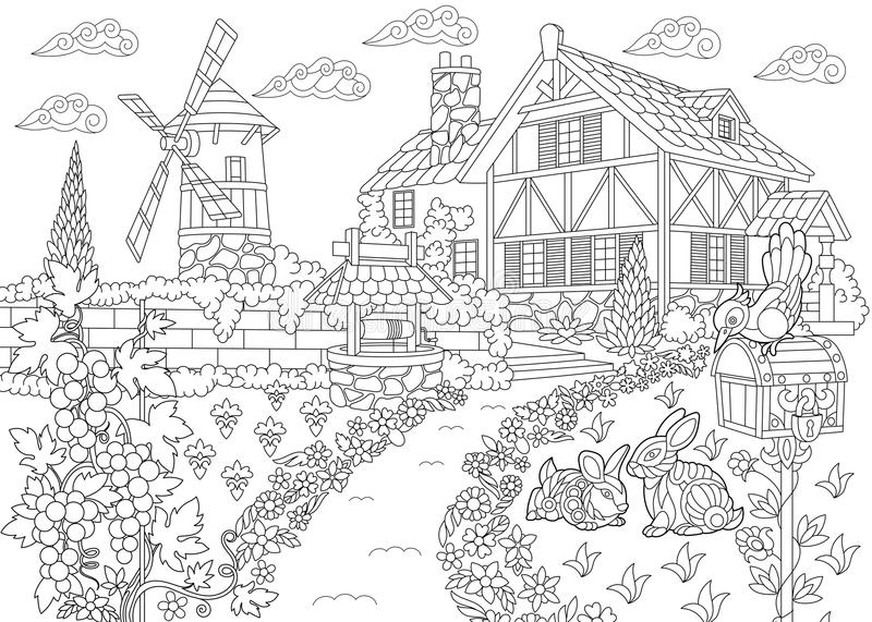 Coloring Page Rural Landscape Farm House Windmill Water Well Mail Box Bunnies Woodpecker Bird Grape Vines Freehand Sketch