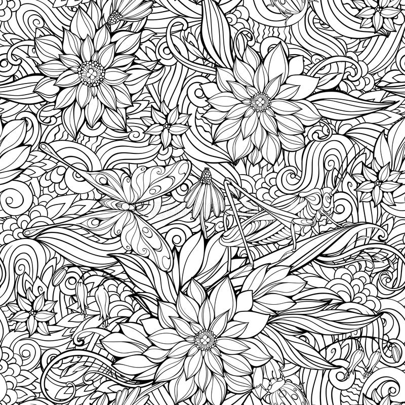 Coloring page with seamless pattern of flowers, butterflies and royalty free stock photography