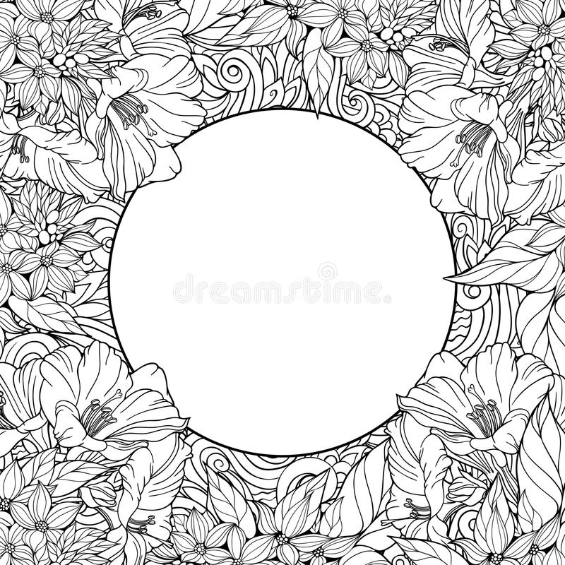 Coloring page with seamless pattern of flowers and place for tex vector illustration