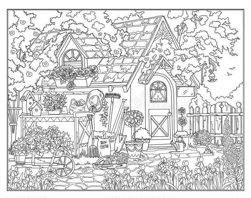 Coloring Page The Secret Garden Stock Illustration Illustration