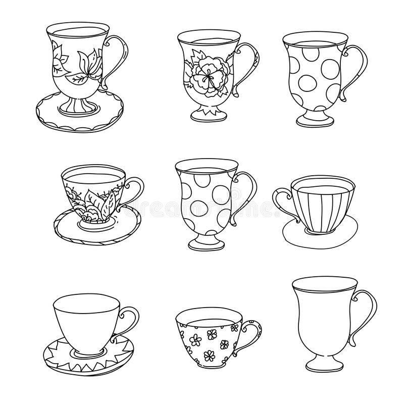 Coloring Page Set Cupcake Ice Cream Tea Pot Cup Stock Vector Illustration Of Beverage Adult 93583573