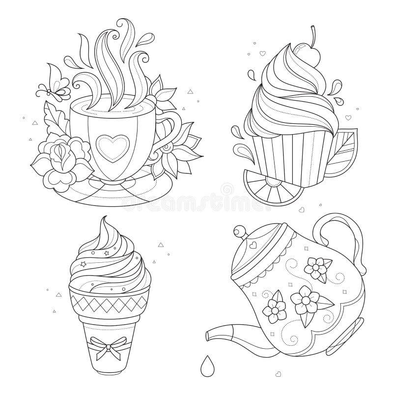 Coloring page set. Cupcake, ice cream, tea pot, cup. stock illustration