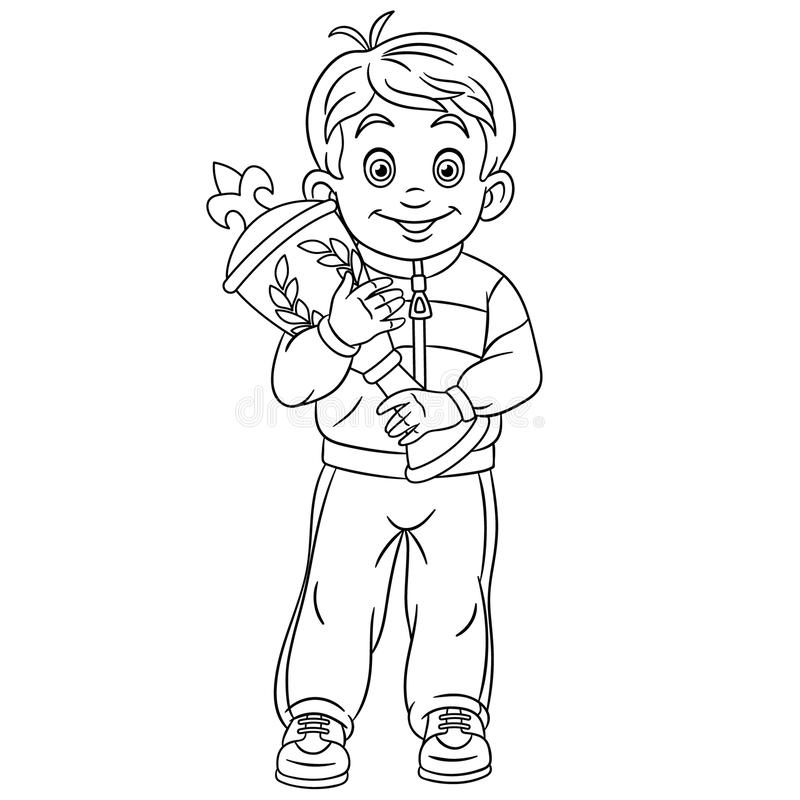 Coloring page with sport winner victory first award trophy vector illustration