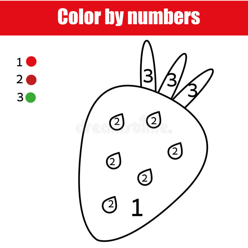 Coloring Page With Strawberry. Color By Numbers Educational Children ...