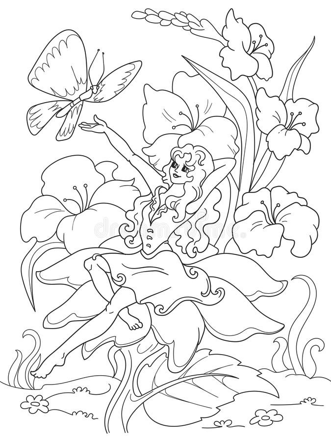 Coloring page Thumbelina sitting on a flower royalty free illustration