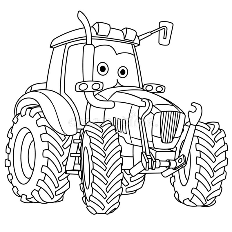 Coloring page with tractor farming vehicle. Coloring page. Colouring picture. Cute cartoon tractor. Agricultural farming vehicle. Childish design for kids vector illustration