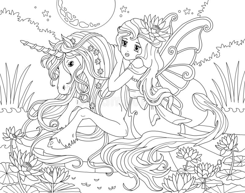 Coloring Page The Unicorn And Princess Stock Illustration - Illustration Of  Adults, Horse: 127840764