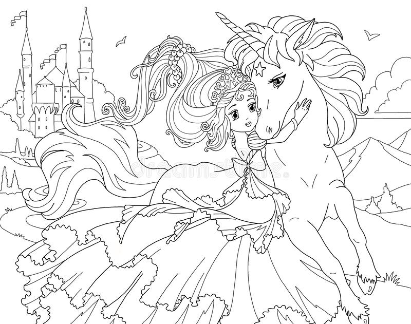 Coloring Page The Unicorn And Princess Stock Illustration - Illustration Of  Horse, Pattern: 127840811